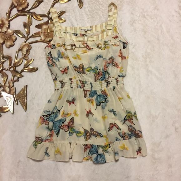 f2bcca71ac0cdb Nanette Lapore Butterfly Print Silk Top Size 2